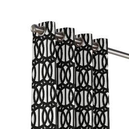 Black & White Trellis Outdoor Grommet Curtains Close Up