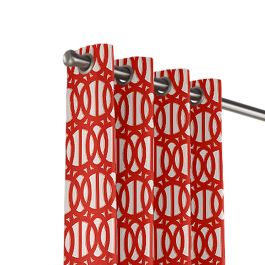 Coral Red Trellis Outdoor Grommet Curtains Close Up