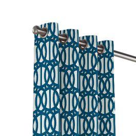 Bright Blue Trellis Outdoor Grommet Curtains Close Up