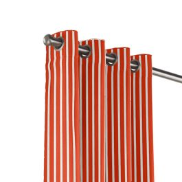 Flame Red Thin Stripe Outdoor Grommet Curtains Close Up