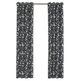 Navy Graphic Floral Outdoor Grommet Curtains Close Up