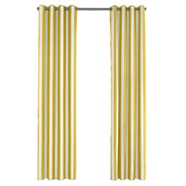 Yellow Awning Stripe Outdoor Grommet Curtains Close Up