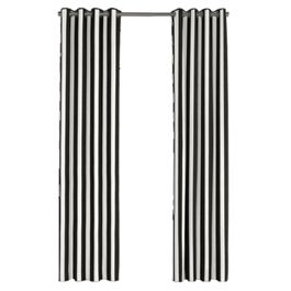 Black & White Awning Stripe Outdoor Grommet Curtains Close Up