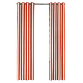 Red Awning Stripe Outdoor Grommet Curtains Close Up