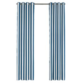 Royal Blue Awning Stripe Outdoor Grommet Curtains Close Up