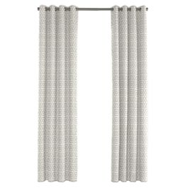 Light Gray Trellis Outdoor Grommet Curtains Close Up