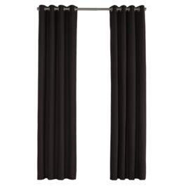 Black Sunbrella® Canvas Outdoor Grommet Curtains Close Up