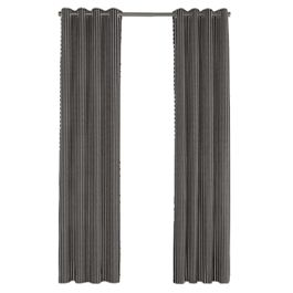 Black & White Thin Stripe  Outdoor Grommet Curtains Close Up
