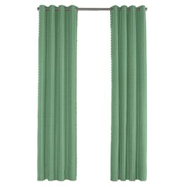 Emerald Green Thin Stripe Outdoor Grommet Curtains Close Up