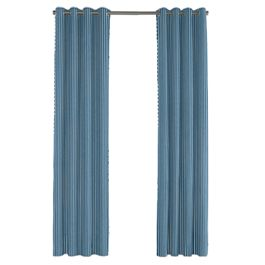 Bright Blue Thin Stripe Outdoor Grommet Curtains Close Up