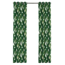 Green Banana Leaf Outdoor Grommet Curtains Close Up