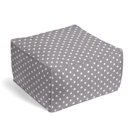 White & Gray Polka Dot Outdoor Pouf