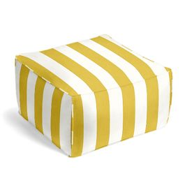 Yellow Awning Stripe Outdoor Pouf