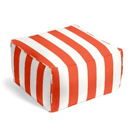 Red Awning Stripe Outdoor Pouf