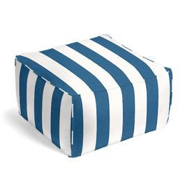 Royal Blue Awning Stripe Outdoor Pouf