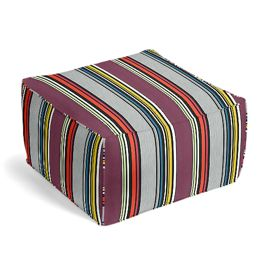 Purple Multicolor Striped Outdoor Pouf