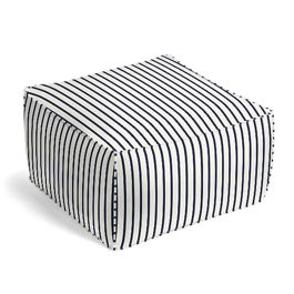 Navy & White Stripe Outdoor Pouf