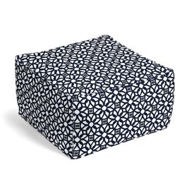 Navy Blue Floral Lattice Outdoor Pouf