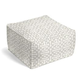 Light Gray Trellis Outdoor Pouf
