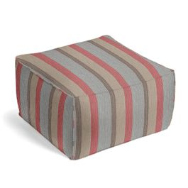 Red Blue Tan Stripe Outdoor Pouf