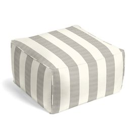 Gray Awning Stripe Outdoor Pouf