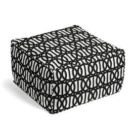 Black & White Trellis Outdoor Pouf