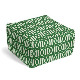 Emerald Green Trellis Outdoor Pouf
