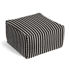 Black & White Thin Stripe  Outdoor Pouf