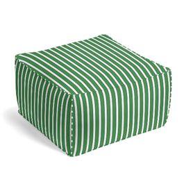 Emerald Green Thin Stripe Outdoor Pouf