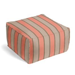 Coral & Gray Stripe Outdoor Pouf