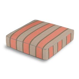 Coral & Gray Stripe Outdoor Floor Cushion