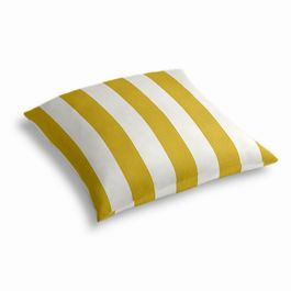 Yellow Awning Stripe Outdoor Floor Pillow