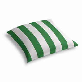 Green Awning Stripe Outdoor Floor Pillow