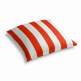 Red Awning Stripe Outdoor Floor Pillow