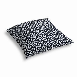 Navy Blue Floral Lattice Outdoor Floor Pillow