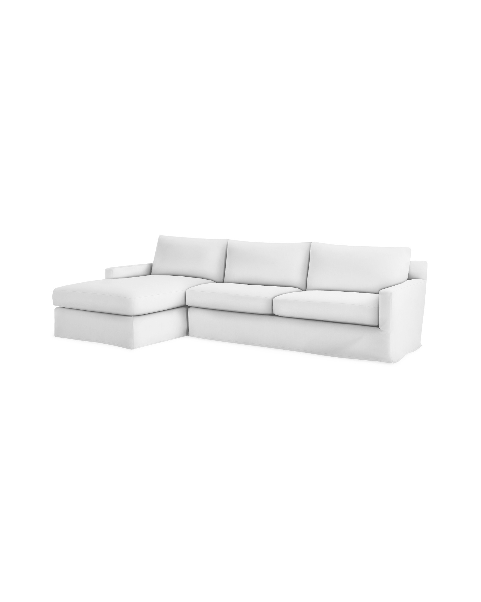 summit slipcovered chaise sectional left facing