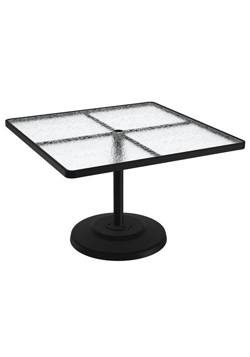 acrylic square pedestal patio dining table