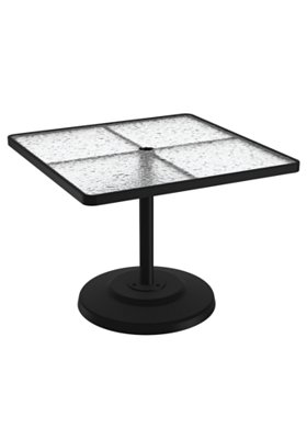 acrylic patio square pedestal dining table