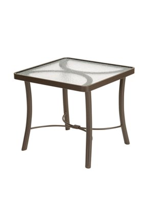 patio glass square end table