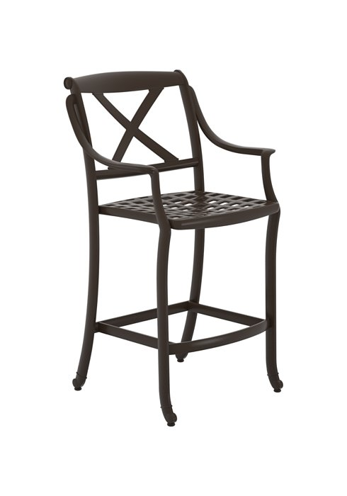 patio bar stool with cast shell seat