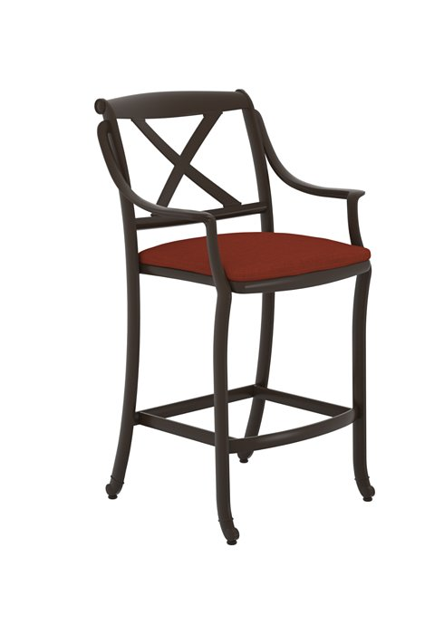 Belmar X Back Stationary Bar Stool With Seat Pad