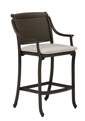 patio woven stationary bar stool with pad