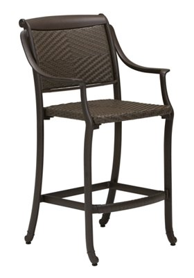 outdoor woven stationary bar stool