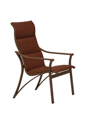 outdoor padded sling high back dining chair