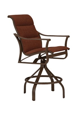 outdoor padded sling swivel bar stool