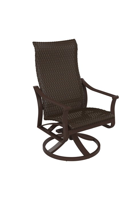 outdoor woven high back swivel rocker