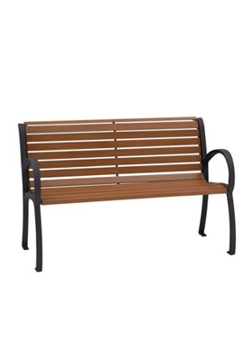 outdoor faux wood slat bench with back and arms