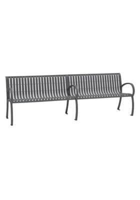 outdoor vertical slat bench with back and arms