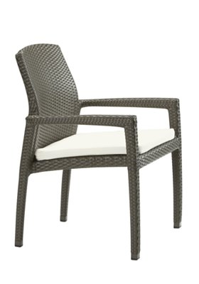 patio woven dining chair with pad
