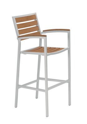 Jado Faux Wood Slat Bar Stool with Arms
